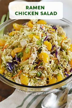 Ramen Chicken Salad made with napa cabbage coleslaw mix and Asian style dressing is a delicious dinner salad recipe that's easy to make and perfect for summer. Works great for meal prep! Side Salad Recipes, Salad Recipes For Dinner, Dinner Salads, Side Dish Recipes, Side Dishes, Healthy Meatloaf, Meatloaf Recipes, Summer Grilling Recipes, Summer Recipes