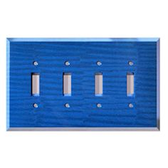 Lapis Glass Quad Toggle Switch Cover