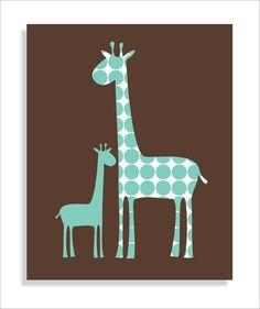 Giraffe Modern Children's Wall Art Nursery wall by FieldandFlower, $12.00