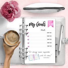 MY GOALS Printable Planner Inserts  Watercolor  A5 Pdf