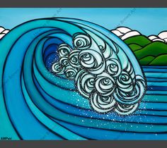 """The bright blues, greens, and whites of Heather Brown Art's """"Blue Barrel"""" painting captures the essence of the beautiful world we live in. It was released as a matted print for Earth Day Matted Heather Brown Art, Posca Art, Hawaiian Art, Wave Art, Surf Art, Beach Art, Tropical Flowers, Artwork Prints, Art Lessons"""