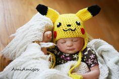 Crochet Pikachu Hat Newborn by AmiAmigos on Etsy, $21.00