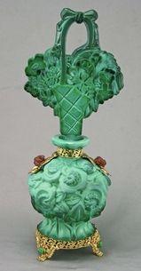 Rare Czech Ingrid Malachite Jeweled Perfume Bottle