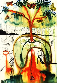 """salvador dali illustrates alice in wonderland -- """"mad tea party"""". if there is an artist that existed more suited to have illustrated carroll's classic, please show me!"""