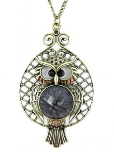 Owl Charm Antiqued Silver Flying Owl Pendant with Envelope Fairy Tale