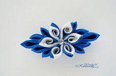 Curly Petals Tsumami Kanzashi Fabric Satin Flower Hair Barrette
