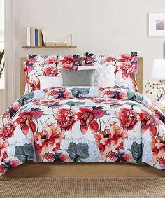 Another great find on #zulily! White Floral Five-Piece Comforter Set #zulilyfinds