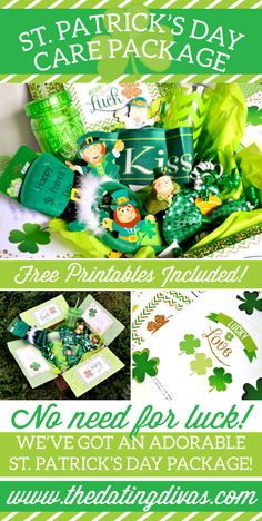 Love the gorgeous green and sparkly gold in this care package! www.TheDatingDivas.com