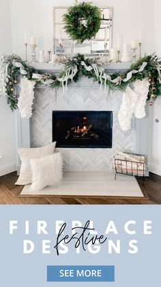 Get cozy with these living room design ideas to bring holiday decorating to your fireplace, mantel decor, and Christmas tree! This greenery and white knit holiday design is as cozy as it gets, with a pine and ribbon garland to decorate the mantel and a wreath on the vintage windowpane mirror! Add a chevron tile fireplace for the perfect living room decor! See more of our favorite fireplace designs and holiday decorating tips on the Tile Club Blog!
