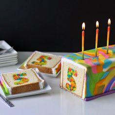 Rainbow Tie-Dye Surprise Inside Cake