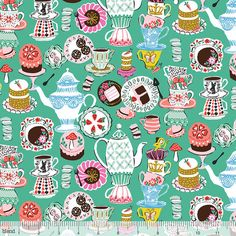 Mad Hatter's Tea Party on Green from Blend Fabric's Wonderland Collection by Josephine Kimberling