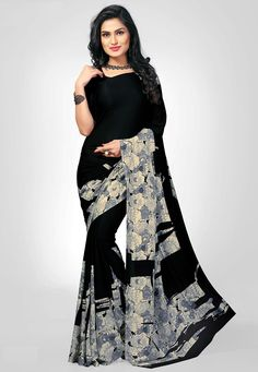 Classical Black and Grey Printed Saree. Electrify the moment with this saree. This saree will keep you comfortable all day long. This saree is quite comfortable to wear and easy to drape as well. This saree comes with matching unstitch Blouse. Formal Saree, Casual Saree, Formal Dresses, Sarees Online India, Crepe Saree, Saree Shopping, Printed Sarees, Beautiful Saree, Indian Sarees