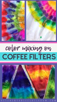 Washable markers and coffee filters are super fun and easy way to experiment with color mixing! Add water and watch the colors mix- and you get awesome radial designs! Color Mixing on Coffee Filters Coffee Filter Art, Coffee Filter Crafts, Coffee Filter Projects, Coffee Filter Flowers, Easy Art Projects, Projects For Kids, Sharpie Art Projects, Art Education Projects, Summer Art Projects