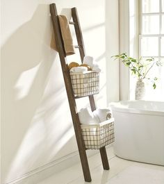 Shop lucas reclaimed wood bath ladder storage from Pottery Barn. Our furniture, home decor and accessories collections feature lucas reclaimed wood bath ladder storage in quality materials and classic styles. Bathroom Storage Ladder, Ladder Storage, Diy Storage, Bath Storage, Storage Ideas, Basket Storage, Ladder Shelves, Open Shelves, Extra Storage
