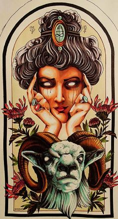 Aries by Alex Mister P Crying Woman with Ram Zodiac Canvas Art Print – moodswingsonthenet