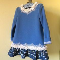 Купить Платье Двенадцать месяцев - голубой, однотонный, платье, Платье нарядное, платье для девочки