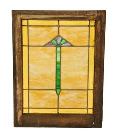 original early 1920's american craftsman style interior residential chicago bungalow stained glass window with centrally located abstract floral motif