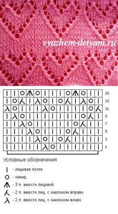 Сердечки - ажурный узор для детской кофточки
