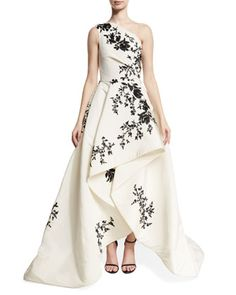 One-Shoulder+High-Low+Draped+Gown,+White/Black+by+Monique+Lhuillier+at+Neiman+Marcus.