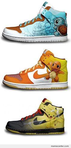 Pokémon Nike shoes: Squirtle, Charmander, and Pikachu.