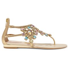 René Caovilla Crystal-embellished metallic leather wedge sandals found on Polyvore featuring shoes, sandals, flats, zapatos, wedges shoes, embellished sandals, leather sandals, flat shoes and embellished wedge sandals