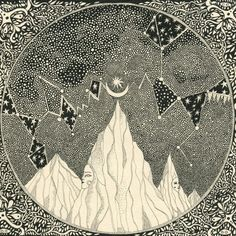 Mystery mountain, a design for a record sleeve