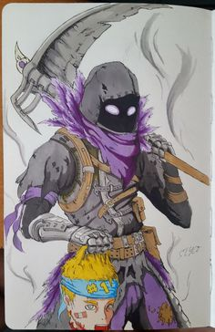 Fornite, skin raven, drawing, dessin, corbeau, epic game.