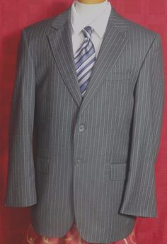 Jos A Bank Signature Gold  Black Pinstriped Wool 2 Button Suit Size 38R #JosABank #TwoButton