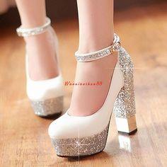 af65586af2a9 2015 Women Red Sole Ankle Strap High heels Sequins Thick Heel Platform Pumps  Women Wedding Shoes Plus Size White Silver Gold Red