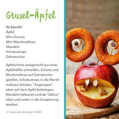Gruselapfel mit Donut-Augen Mini Donuts, Mini Marshmallows, Peach, Candy, Food, Chocolate Apples, Recipe, Halloween Kids, Almonds