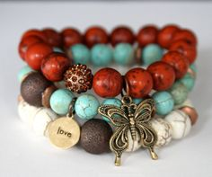 SALE ON Boho Chic Butterfly and Love Charm Stretch Beaded Bracelets    Impression Stone, Turquoise and Howlite Stretch Bracelets