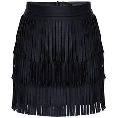 Black Gia Fringe Mini Skirt ($33) ❤ liked on Polyvore featuring skirts, mini skirts, bottoms, black, mini skirt, faux leather mini skirt, black miniskirt, short skirts and fringe skirt
