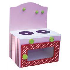 Cucina per bambini in legno dal design Svedese, semplice ed elegante! La cucina è fornita di 2 fornelli, un forno che si apre e tre appendi presina/utensili.