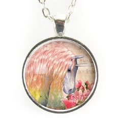 This necklace features a magical unicorn! - Pendant size: inch mm) - Chain length: inches - Art print sealed under smooth glass cover - Zinc alloy frame and chain, lead and nickel free - Handmade in the U. Unicorn Jewelry, Unicorn Necklace, Devian Art, Magical Unicorn, Making Ideas, Original Artwork, Fashion Beauty, Jewelry Making, Pendant Necklace