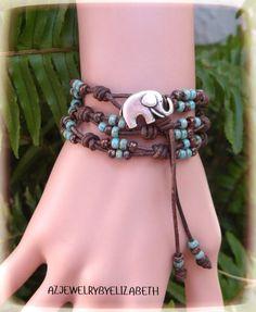 Elephant Wrap Bracelet Made With Seed Bead by AZJEWELRYBYELIZABETH