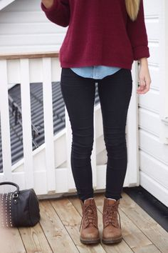 Perfect winter staple a thick woolly jumper looks great with these doc martins and the denim shirt