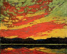 Tom Thomson - Sunset - Canada, Canadian Oil Painting - Group of Seven Art Print by ArtExpression - X-Small Emily Carr, Group Of Seven Artists, Group Of Seven Paintings, Canadian Painters, Canadian Artists, Landscape Art, Landscape Paintings, Nature Paintings, Abstract Paintings