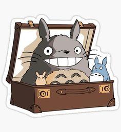 Totoro in Fantastic Suitcase Sticker Stickers Kawaii, Anime Stickers, Tumblr Stickers, Cool Stickers, Printable Stickers, Laptop Stickers, Suitcase Stickers, Studio Ghibli Art, Desenho Tattoo