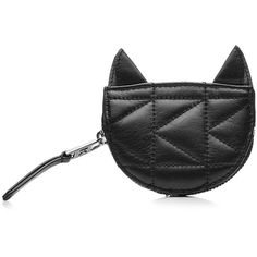 Karl Lagerfeld Kuilted Leather Cat Coin Purse (110 CAD) ❤ liked on Polyvore featuring bags, wallets, black, clutches, wallet, cat wallet, leather coin purse, coin pouch wallet, coin pouch and leather coin pouch