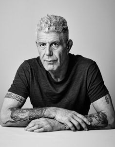 Anthony Bourdain portrait candid Parts Unknown No Reservations black and white vintage photo Anthony Bourdain Tattoos, Anthony Bordain, Anthony Michael, Black And White Portraits, My Images, Candid, Vintage Photos, At Least, Author