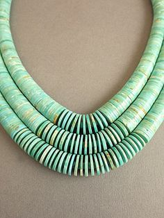 """Necklace - 3 Strand Turquoise """"Waterfall"""" by Lester Abeyta (Kewa Pueblo)"""