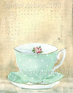 Kitchen Art Vintage teacup Tea Cup Print by sherrinelsonstudio, $14.50