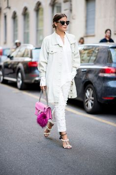 All white street style look fall winter fashion
