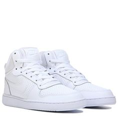 Lace up a retro-stylish look with the Nike Court Borough Mid Top Sneaker.Leather upper in a casual mid top sneaker style with a round toeNike Swoosh and logo detailsLace up frontPadded collarHeel pull loopSmooth lining, cushioning insoleRubber outsole Sneakers Adidas, Shoes Sneakers, Basket Nike, Sneakers Fashion, Nike Women, Baskets, High Top Sneakers, Footwear, Lace Up