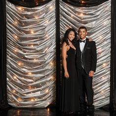 Black and Silver Gossamer Light Wall is a really cool backdrop for any Black Tie Affair Prom, Masquerade Prom, Hollywood Nights Prom, Great Gatsby Prom or really just about any Prom that wants to provide a Prom photo backdrop with a huge wow factor.