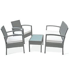 Rattan Garden Furniture Set 4pcs Sofa 2 Chairs Bench Side Table Grey - Conservatory Outdoor Patio