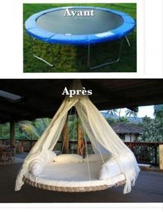 What to do with an old trampoline. We just so happen to have an old trampoline in our backyard. Trampolines, Easy Diy Projects, Home Projects, Diy Jardim, Old Trampoline, Trampoline Ideas, Diy Vintage, Creation Deco, Ideias Diy