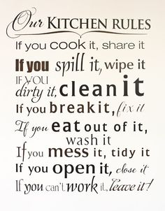 kitchen rules Wise Decor has decided to giveaway a wall decal to one lucky CakeJournal reader. Make sure you put in your entires early and often. My Kitchen Rules, Kitchen Quotes, Kitchen Signs, Kitchen Decor, Cow Kitchen, Life Kitchen, Decorating Kitchen, Kitchen Cupboards, Design Kitchen