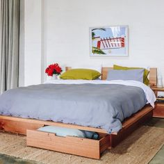 Al and Imo Custom Timber Furniture Scandi Bedside Table, Bedside Table Design, Timber Bed Frames, Timber Beds, Timber Furniture, Custom Furniture, Minimalist Bed Frame, Simple Bed Designs, Bookshelf Headboard
