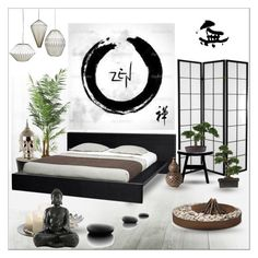 """""""Zen Bedroom"""" by szaboesz ❤ liked on Polyvore featuring interior, interiors, interior design, home, home decor, interior decorating, Brewster Home Fashions, Laura Ashley, Nearly Natural and Jayson Home"""